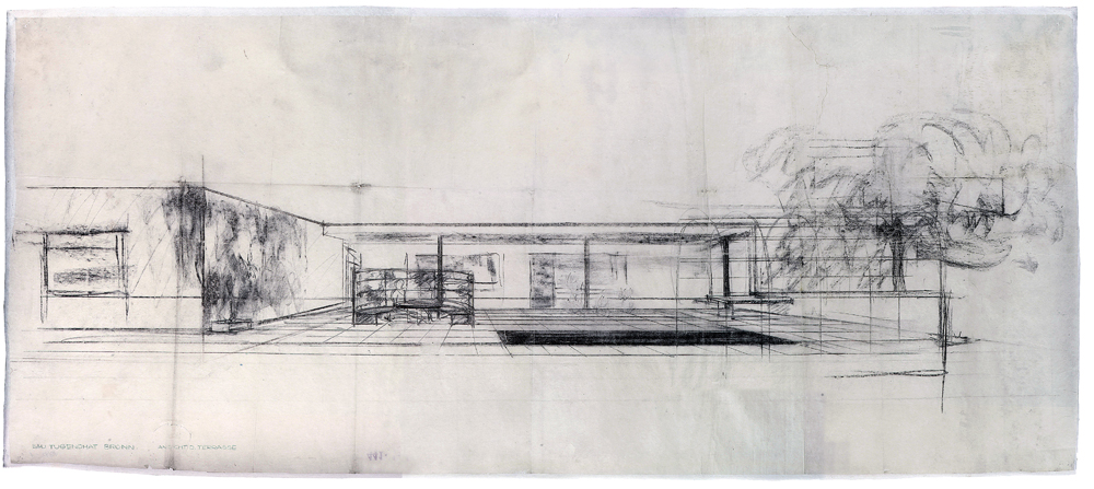 perspective rendering by mies the bedroom terrace. Black Bedroom Furniture Sets. Home Design Ideas