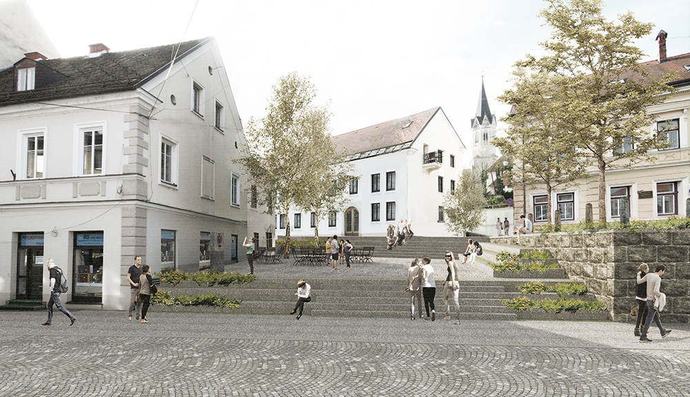 Renovation of open spaces of the Novo Mesto town core competition 2016; under construction 2017 Architecture: Jurij Kobe, Nataša Blažko, Maja Kovačič, Tanja Paulin, Peter Plantan, Urša Podlipnik