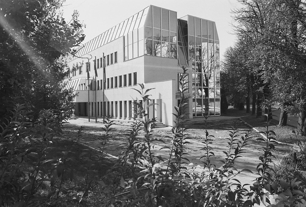 Administrative building of the municipality in Novo Mesto – adaptation and addition to the former cultural and educational centre of the Yugoslav armed forces – YNA Home 1978 (with Aleš Vodopivec) Photo JK Architecture: Jurij Kobe, Aleš Vodopivec
