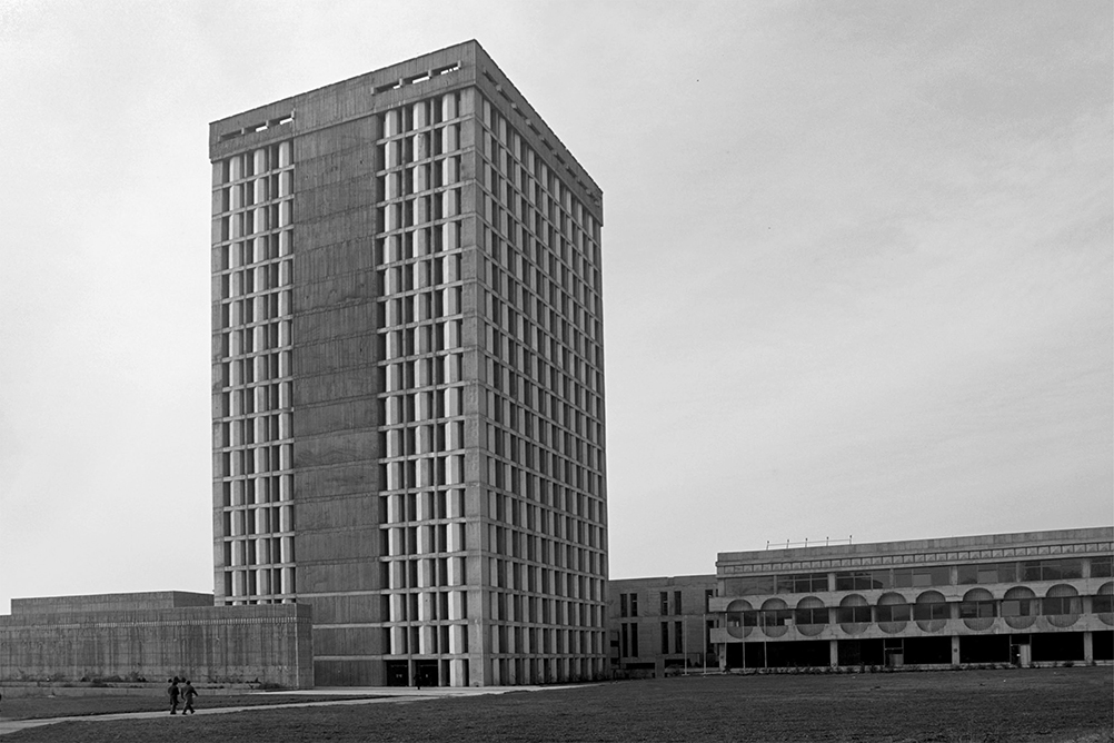 Media Building »Rilindja«, Prishtina, 1971 architect: Georgi Konstatinovski photo: Afrim Spahiu