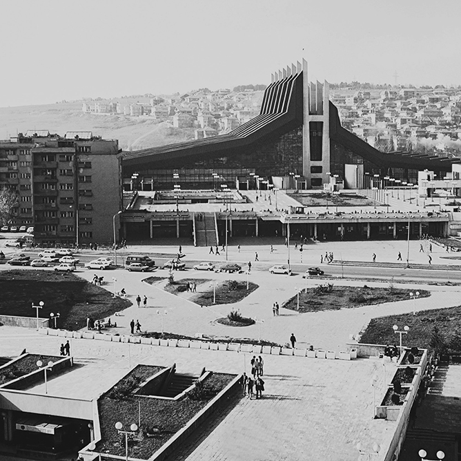 Youth and Sports Centre »Boro and Ramiz«, Prishtina, 1976 architects: Živorad Jankovič, Halid Muhasilovič, Srečko Ešpek photo: Afrim Spahiu